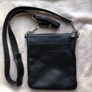 💗Black Leather Coach Crossbody Sling Bag💗